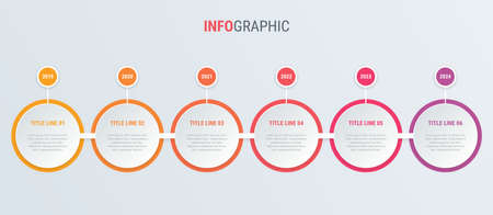Red diagram, infographic template. Timeline with 6 steps. Circle workflow process for business. Vector design.