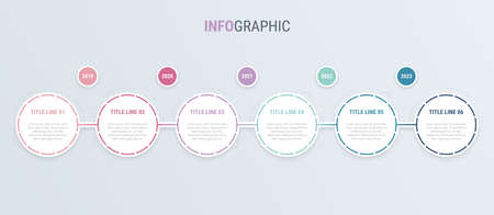 Infographic template. 6 steps rounded design with beautiful vintage colors. Vector timeline elements for presentations.