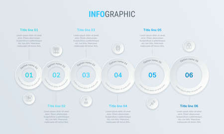 Blue vector infographics timeline design template with rounded elements. Content, schedule, timeline, diagram, workflow, business, infographic, flowchart. 6 steps infographic.