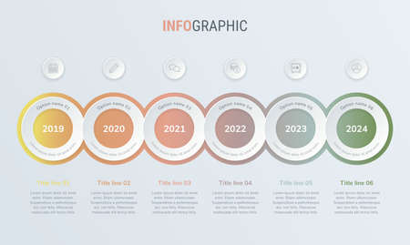 Abstract business circle infographic template in vintage colors with 6 steps. Colorful diagram, timeline and schedule isolated on light background. Stock Illustratie