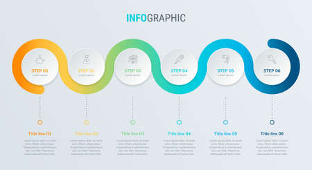 Timeline infographic design vector. 6 options, circle workflow layout. Vector infographic timeline template. Stock Illustratie
