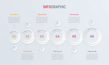Red vector infographics timeline design template with rounded elements. Content, schedule, timeline, diagram, workflow, business, infographic, flowchart. 6 steps infographic.