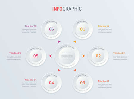 Red vector infographics timeline design template with circle elements. Content, schedule, timeline, diagram, workflow, business, infographic, flowchart. 6 options infographic.