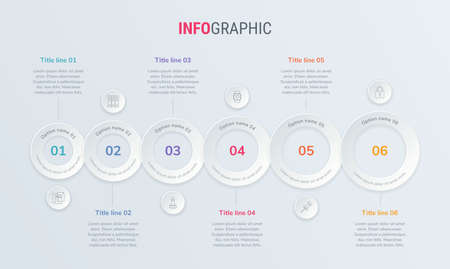 Vector infographics timeline design template with rounded elements. Content, schedule, timeline, diagram, workflow, business, infographic, flowchart. 6 steps infographic. Stock Illustratie