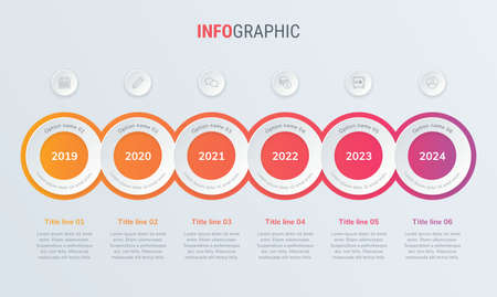 Abstract business circle infographic template with 6 steps. Red diagram, timeline and schedule isolated on light background. Stock Illustratie