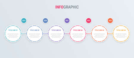 Infographic template. 6 steps rounded design with beautiful colors. Vector timeline elements for presentations.