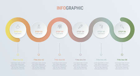Timeline infographic design vector. 6 options, circle workflow layout. Vector infographic timeline template in vintage colors.