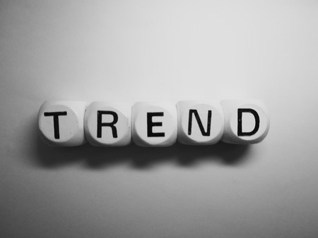 spelling of word trend using on white background Stock Photo