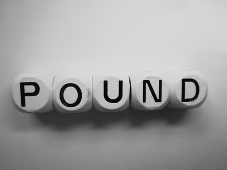 spelling of word pound using dice on white background