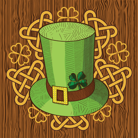 celtic: Colorful St. Patricks Day hat with clover and ornament with Knots on wood background. Vector illustration