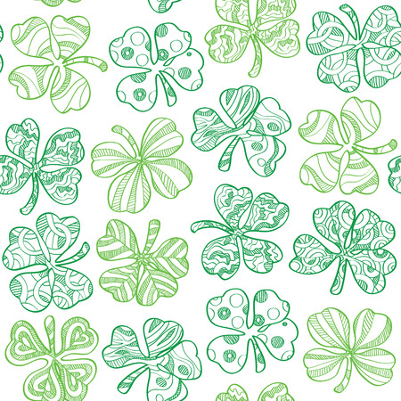 celtic: Seamless pattern with shamrock on white background. Vector illustration Illustration