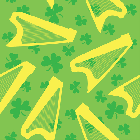 Seamless pattern with celtic harp and shamrock on green background. Vector illustration