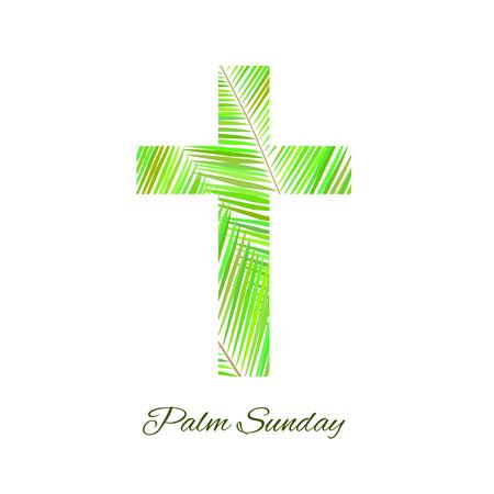 Palm Sunday cross isolated on white background. Vector illustration