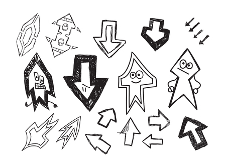 Set of fun hand drawn character arrows isolated on white background. Vector Illustration.