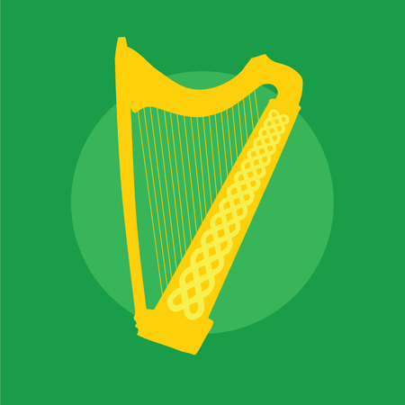braided: Silhouette of Celtic Harp with ornament on green background. Vector Illustration