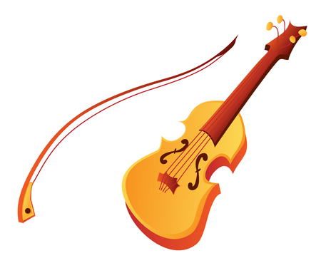 Funny cute cartoon violin isolated on white background. Vector Illustration