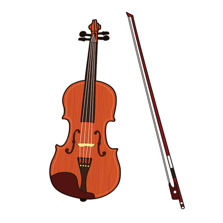 Wooden colorful violin with bow isolated on white background. Vector illustration.