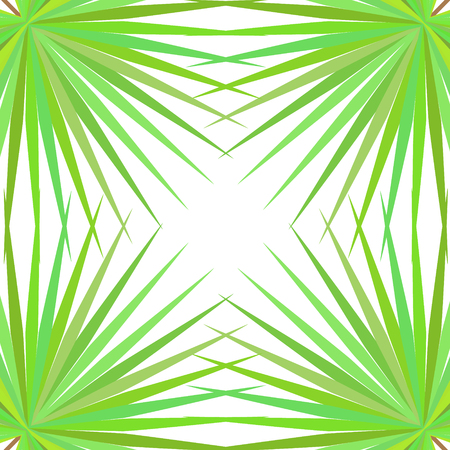 Symmetrical pattern with palm leaves on white background. Vector illustration. Illustration