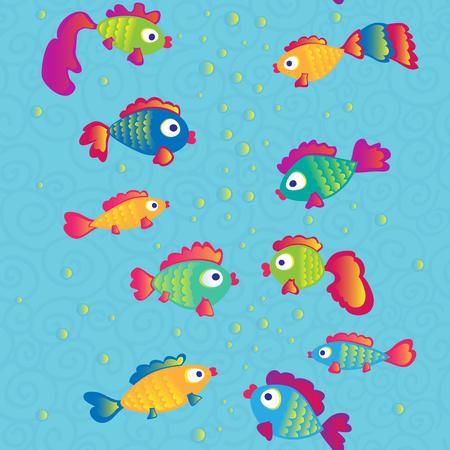 Fishes communicate cartoon seamless pattern. Vector illustration. Illustration