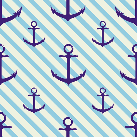 Seamless pattern with anchor on background and diagonal stripes. Vector illustration.