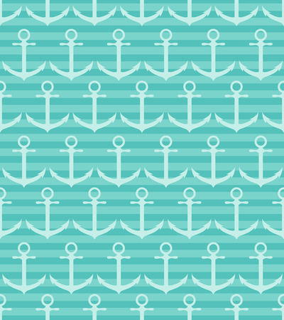 Seamless pattern with anchor on blue striped background. Vector illustration. Illustration