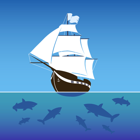 Sailing ship surrounded by sharks in the sea. Vector Illustration