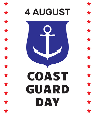 coast guard: Coast guard day greeting card. Image of anchor on a shield and border with stars on white background. Vector illustration.