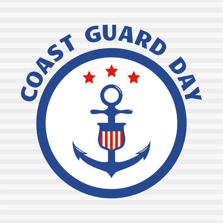 Coast guard day greeting card. Symbol of coast guard on grey stripe background. Vector illustration.