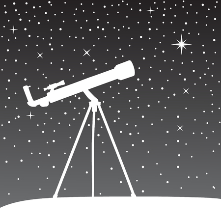 stargazing: Silhouette of telescope on the night sky background. Vector illustration.