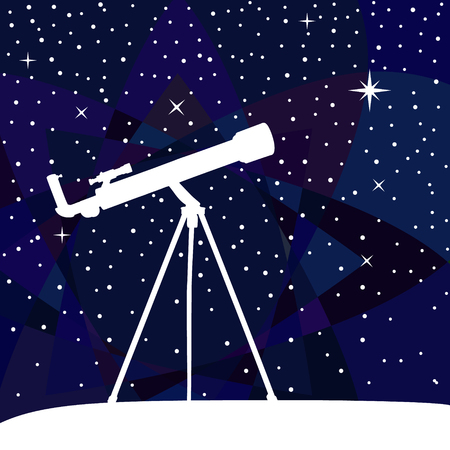 stargazing: Silhouette of telescope on the night sky colorful background. Vector illustration. Illustration