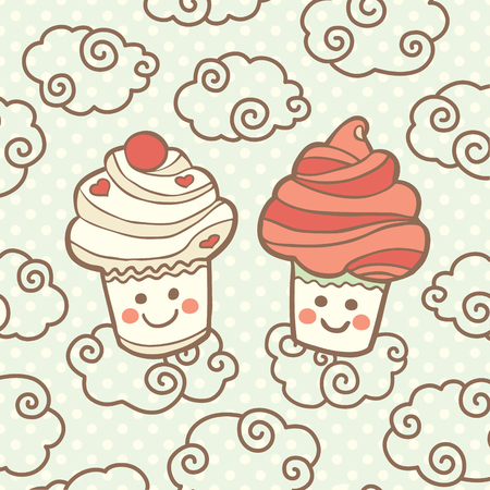 Two cute smiling cupcakes on clouds. Vector illustration.