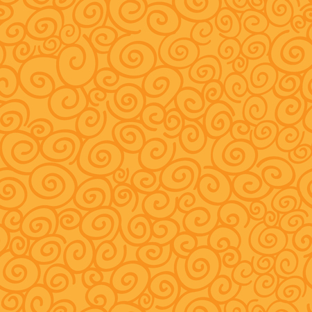 Seamless pattern with curls on orange background. Vector illustration.