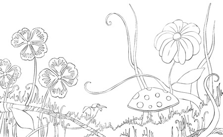 Nice Doodle Floral Pattern In Black And White Page For Coloring