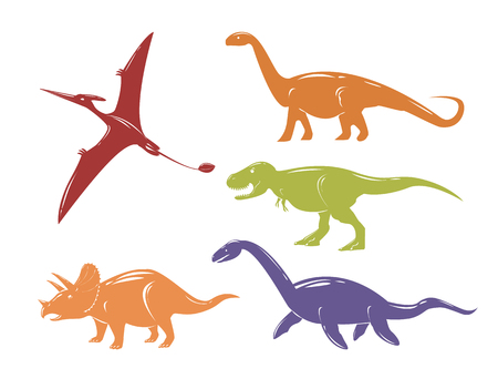 Set of colorful dinosaurs isolated on white background. Vector illustration.