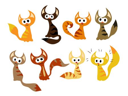 Cute Cartoon Cat set. Art vector illustration. Illustration