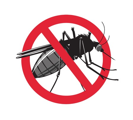 No mosquito sign isolated on white background. Vector Illustration