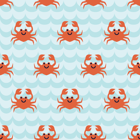 Seamless pattern with flock of cute cartoon crabs on blue wave background. For cards, invitations, albums, wallpapers, backgrounds and scrapbooks. Art vector Illustration.