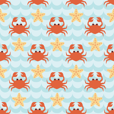 Seamless pattern with flock of cute cartoon crabs and starfishes on blue wave background. For cards, invitations, albums, wallpapers, backgrounds and scrapbooks. Art vector Illustration. Illustration