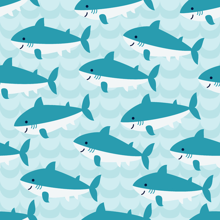 simple life: Seamless pattern with flock of cute cartoon sharks on blue wave background. For cards, invitations, albums, wallpapers, backgrounds and scrapbooks. Art vector Illustration. Illustration