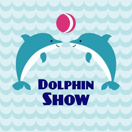 Twee spelende dolfijnen met bal op golfachtergrond. Vierkant sjabloon geschikt voor dolfinarium. Kan worden gebruikt voor poster, kaart, brochure, uitnodigingen ontwerpen. Kunst vector illustratie. Stock Illustratie