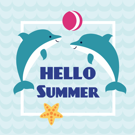 Hello Summer card with playing dolphins and starfish on abstract wave background. Design for invitation, banner, card, poster, placard, flyer. Art vector Illustration.