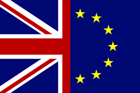 skepticism: European Union and Great Britain flags concept. Vector illustration