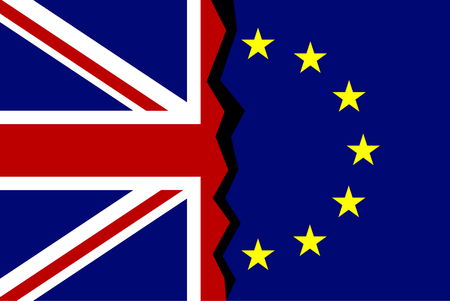 European Union and Great Britain flags concept. A crack between flags. Vector illustration Illustration