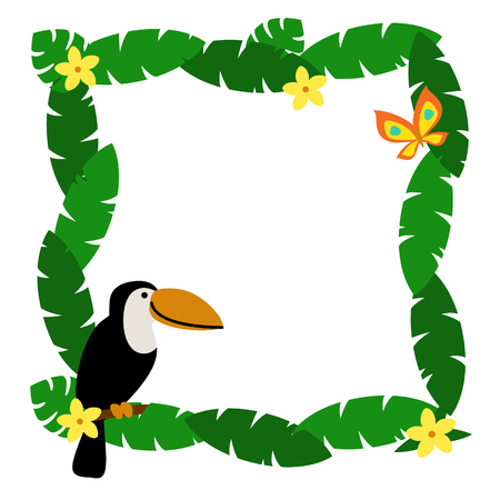 Border with palm leaves and cute cartoon smiling toucan isolated on white background. Art vector illustration. Illustration