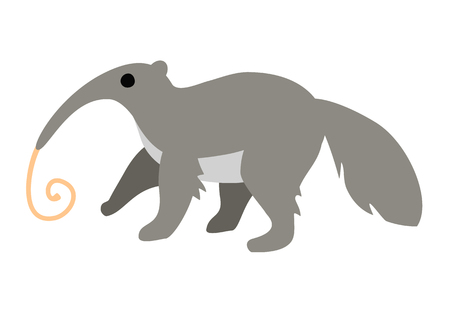 Cute cartoon anteater with long tongue isolated on white background. Art vector illustration.