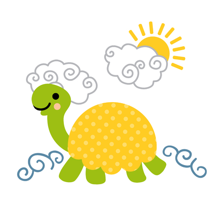 Cute cartoon smiling turtle with dotted shell swimming in the sea. Art vector illustration.