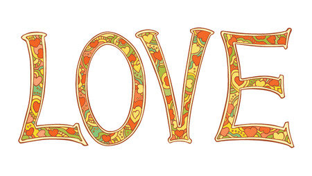 Hand drawn colorful letters LOVE text isolated on white background. Vector illustration. Illustration