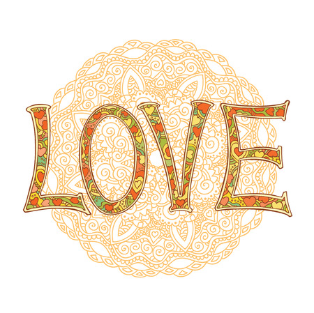Hand drawn colorful text LOVE isolated with mandala on white background. Vector illustration.