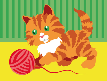 Cute orange kitten playing with a clew in room. Vector illustration. Illustration