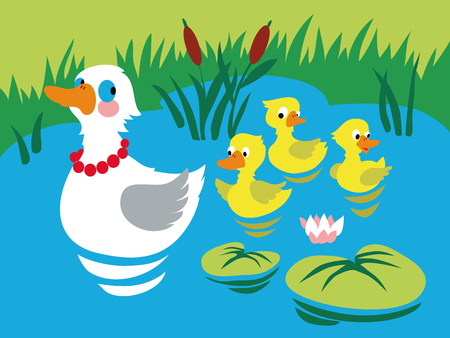 Mother duck with three baby ducks in the pond. Vector illustration. Illustration